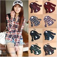 HOT SALE#Women Button Down Lapel Shirt Plaids & Checks Flannel Shirts Tops Blouse