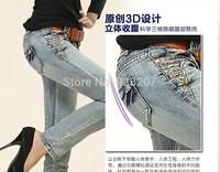 Wholesale 2014 New Korean Style Vintage Jean Lady Comfortable Elatstic Pencil Pants Woman Full Length Denim Trousers