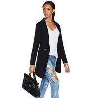 Free shippingEuropean and American simplicity OL double buckle pocket a large lapel Slim waist coat jacket women clothesdress