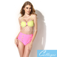 New Arrival Colloyes Sexy Greenish Women's Charming Stunning Swimsuit Bikini Swimwear Padded Split swimsuit Best Quality