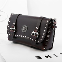 shoulder bags woman leather bag silver rivets punk black messenger bag