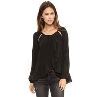 Free shippingSexy strapless draped asymmetrical hollow open shoulder flounced hem chiffon long-sleeved shirt women clothesdress