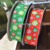 "Printed Grosgrain Ribbon Snow Snowflake 3/8"" Polyester Ribbons for Gift Box Christmas Xmas 100YD/Roll"
