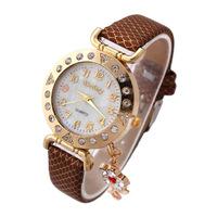 2014 Hot Quartz Watch Women Rhinestone Watches Analog Alloy Fashion PU Band Flower-Shaped Pendant Wristwatches New Promotion