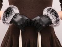 Ms. genuine sheepskin gloves to increase female rabbit mouth open love warm plus thick velvet women's   glove  mittens