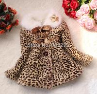 New girl winter leopard grain imitation fur cotton-padded clothes coat ,children coats, 4pcs/lot