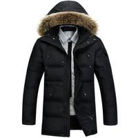 Nina Down Jacket Men Long Winter Overcoat Thick Fur Collar Jacket White Duck Outwear Hooded Parkas Big Size 3XL