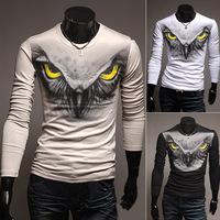 Hot New Korean Version Of Casual Men's Clothing King Owl Cultivating Long-sleeved T-shirt For Men Men's Sports T-shirt TX214