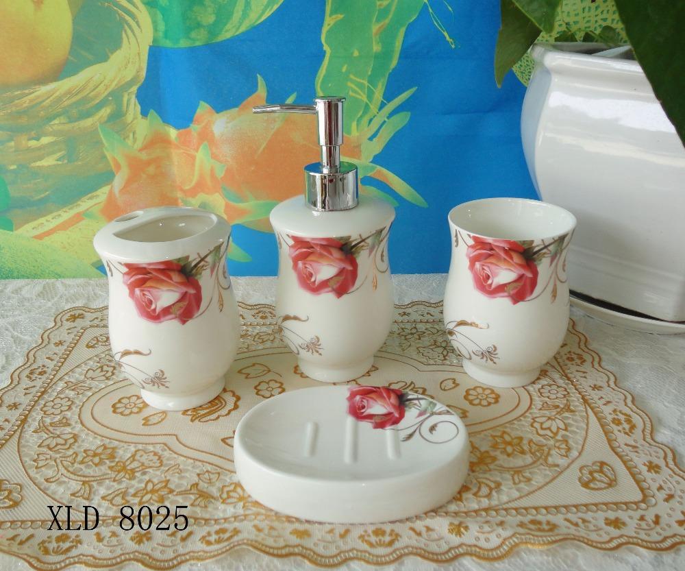 XLD8025 Hot Sell Round Ceramic Bathroom Accessory Set Soap Dish Dispenser Tumbler Toothbrush Holder(China (Mainland))