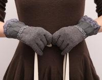 Ms.  velvet glove thin women Korean version of inverted cashmere women's   glove  mittens