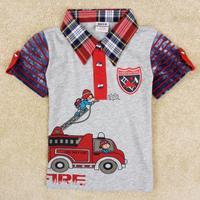 NOVA kids boys checked leisure T-shirt lapel C5101Y#