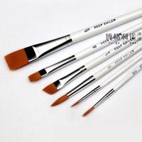 6Pcs/Set Nylon Hair White Pole Multifunction Paint Brush set Acrylic Painting Brush Water Chalk Watercolor Pen Hook Line Pen Art