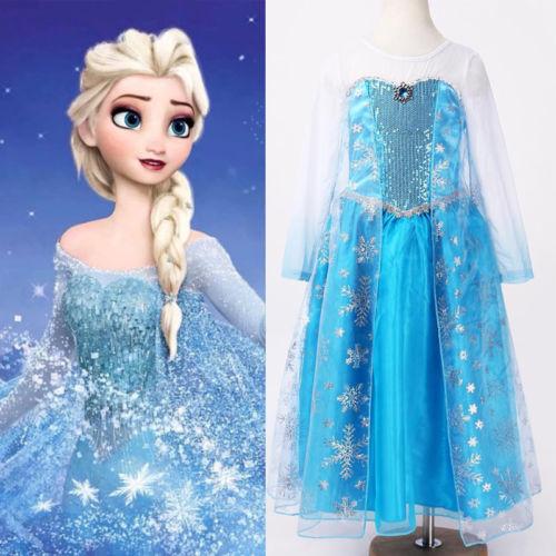 Halloween Princess kids Girls Queen Elsa Cosplay Fancy Dress Costumes Children Cartoon Costumes(China (Mainland))
