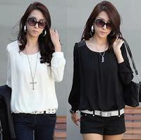 Hot, 2014 summer women's loose plus size thin long-sleeve chiffon shirt