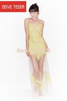 (DEIVE TEGER) araneose lace embroider  sexy  mesh long length  Women  Dress club dress  yellow & black  DT197