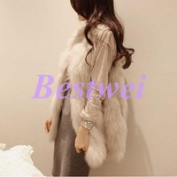 Luxurious New Autumn and Winter Women's Temperament Vest and Long Section High Imitation Fox Fur Female