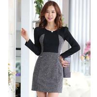 2014 big size women dresses autumn elegant fluid patchwork black one-piece dress slim long-sleeve