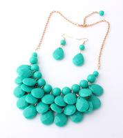 9 farben 2014 neue mode halsbänder bib blase aussage halskette für frauen schmuck acryl perlen halsketten mit ohrringe set