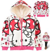 Hello Kitty children outerwear 2014 autumn long sleeve thick fleece hoodies fashion girls warm zipper coat cartoon sweatshirt