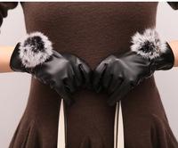 Ms.fur ball plus thick velvet glove Women Korean version open line of lovely women's   glove  mittens