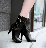 plus size Eur 32-48 winter autumn shoes woman belt buckle high heels women boots martin pumps motorcycle short booties SX140017