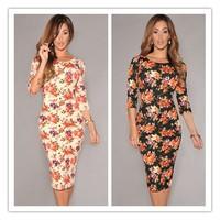 2014 New Sexy Ladies Celeb V Back Half Sleeves Floral Midi Dress Ladies Winter Spring Print Dress LC6559 Free Shipping