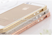 Hot Sale Fashionable Mooke Logo Swarovski Element Crystal Ultra-Thin Frame Metal Bumper Case For iPhone 5/5S Free Shipping