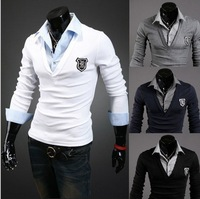Man's New embroidery decoration fashion 2 piece splicing long sleeved Polos JA728