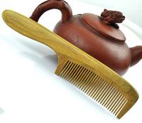 Free shipping Wholesale 8pcs/pcs Natural Original Brazil Green sandalwood comb handmade wooden hair combs 19x4cm