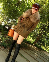 Hot Sale Women's Fashionable Letter Pattern Fur Collar Bandage Waist Design Loose Blends Coat Color As the Picture Free Shipping