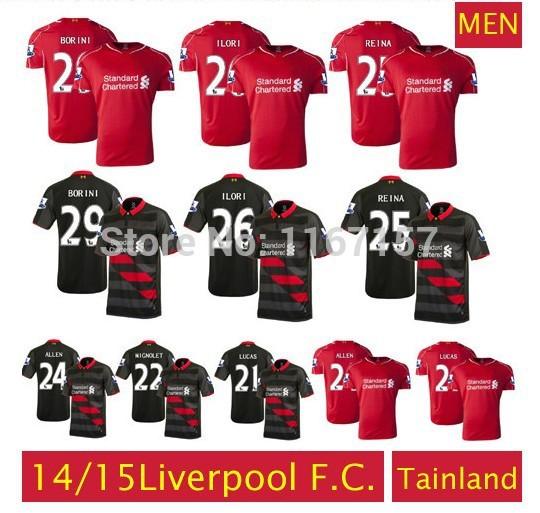 Free ship Liverpool 2014/15 soccer jerseys red home/black Third Away Quick Dry Liverpool shirts football Uniforms LALLANA SUAREZ(China (Mainland))