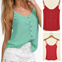 fashion Summer Women Chiffon Blouse Six Color Lady Shirts With Regular Length Spagetti Strap Vest Tops Size S-XXXL NS105