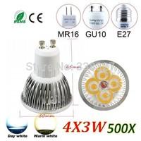 500pcs/lot wholesale High Power GU10 E27 MR16 E14 B22 4X3W 12W dimmable LED bulb Led Spotlight Free shipping
