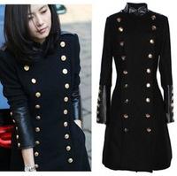Free shipping 2014 New Fashion UK Women Winter Woolen Long Coat  Black Double Breast Slim Fit  Female Overcoat Casaco Free ship