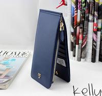 Fashion LOGO brand genuine leather day clutch multi card holder long design zipper women's standing up waller lover gift purse