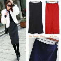 Womens Autumn Winter Thicken Pencil Knee-Length Skirts saias femininas, 2014 maxi Kintted  denim Skirt,Wholesale Retails DL17B