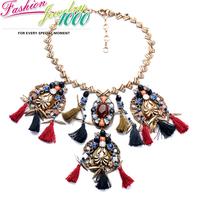 Punk Vintage Brand Bohemian Tassel Flower Pendant Necklace Fashion Fabric Chunky Statement Choker Charm Jewelry Women Party