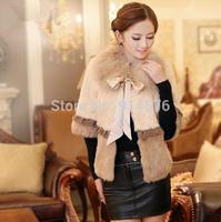 2014 Women Cardigan Fox Fur Collar Coat Rabbit Fur Short Design Top Quality Coats Outwear with Lace