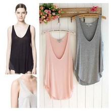 Hot sale 2014 Fashion Summer Woman Lady Sleeveless V Neck Candy Vest Loose Tops T Shirt tshirt women camisetas NL64