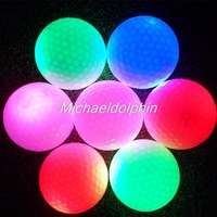 Free shipping! 4pcs Mixed Color Flashing LED Golf Ball Luminous Two piece Golf LED Ball