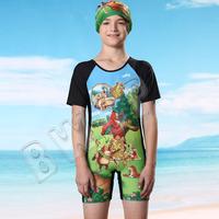 Children swimwear /cartoon children bathing suit  suit/ the boy one-piece swimsuit uv protection beach dress with short sleeves