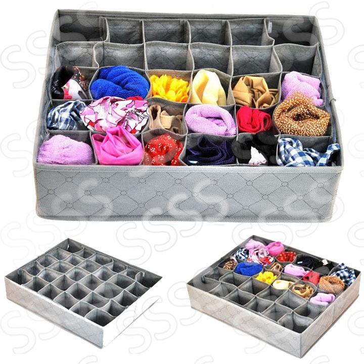 30 CellS Bamboo Charcoal Underwear Ties neckties bra Socks Storage Box Drawer Closet Organizer box case,just 2 pcs free shipping(China (Mainland))