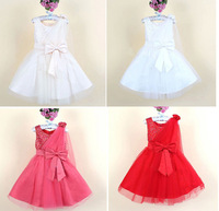 6pcs/lot New 2014 Girl Christening Wedding Party Pageant Dress Kids girl Princess Dresses,Child Bridesmaid Dress with big bow