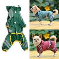 Pet Dog Cat Raincoat Clothes Puppy Glisten Bar Hoody Waterproof Rain Jackets