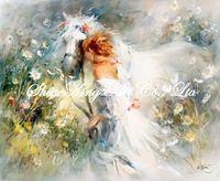 handpainted  impressionist oil painting on canvans beautiful girl art painting  RWI1843 50x60cm