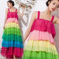 2014 Direct Selling Polyester A-line Vestido Women Dress The Princess Of New Summer Chiffon Dress Rainbow Female Sea Of Bohemia