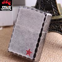 Genuine star STAR steel shell metal windproof lighter kerosene wholesale red shiny G6178