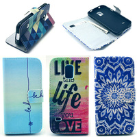 Love Elephant Pure Sky Blue Color For Samsung Galaxy S5 Mini Phone Leather Flip Wallet Stand Case Cover With Credit Card Slot