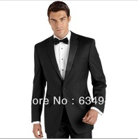 Custom cheap Two buttons Black Satin Lapel Groom Tuxedos Groomsmen Men Wedding Suits Bridegroom dress(Jacket+Pants+Girdle+Tie)