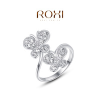 ROXI 2014 Chirstmas Gift Platinum Plated Romantic Elegant Butterfly Ring Statement Rings Fashion Jewelry For Women Party Wedding